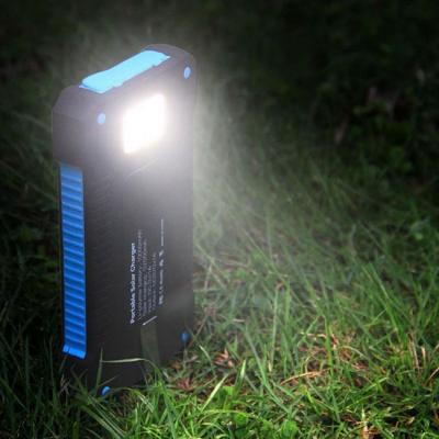 Led light 10000 mah waterproof mobile phone portable solar power bank